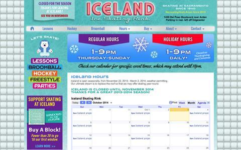 Screenshot of Hours Page skatesacramento.com - Hours of Iceland Ice Skating Rink, Sacramento - captured Oct. 3, 2014