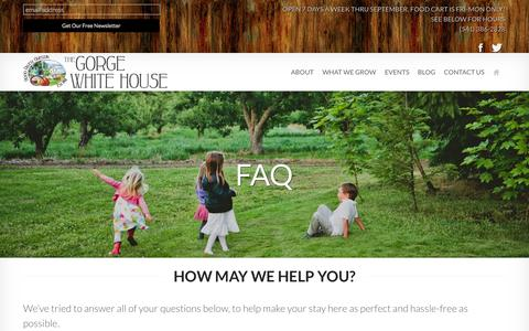 Screenshot of FAQ Page thegorgewhitehouse.com - FAQ - The Gorge White House - captured Sept. 26, 2014
