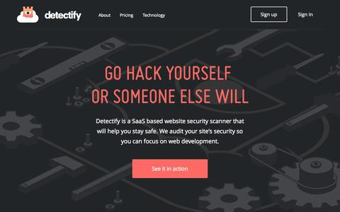 Screenshot of Home Page Login Page detectify.com - Detectify - Go hack yourself! - captured Sept. 19, 2014