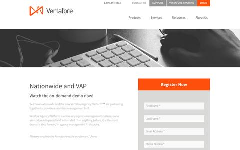 Screenshot of Landing Page vertafore.com - Vertafore - Nationwide Vertafore Agency Platform Demo - captured Aug. 20, 2016
