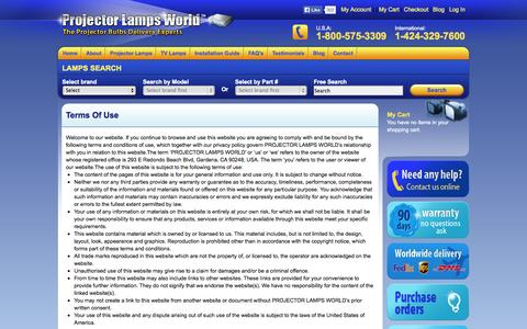 Screenshot of Terms Page projectorlampsworld.com - Terms Of Use - captured Sept. 24, 2014