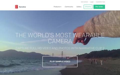 Screenshot of Home Page getnarrative.com - Narrative Clip 2 - The world's most wearable camera - captured Nov. 3, 2015