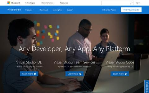 Screenshot of Home Page visualstudio.com - Any Developer, Any App, Any Platform | Visual Studio - captured Sept. 27, 2016
