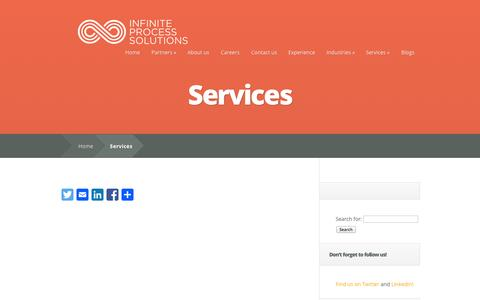 Screenshot of Services Page infinite-eng.com - Services | Infinite Process Solutions - captured Oct. 6, 2014