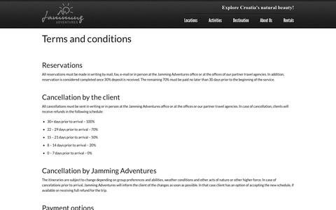 Screenshot of Terms Page kayak.hr - Terms and conditions - Jamming Adventures - captured Oct. 4, 2014