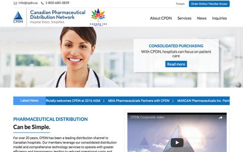 Screenshot of Home Page cpdn.ca - CPDN | Canadian Pharmaceutical Distribution Network - captured July 12, 2017