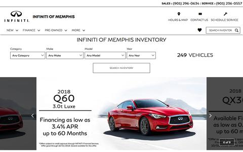Screenshot of Home Page infinitiofmemphis.com - INFINITI of Memphis - New & Used cars in Memphis, TN near Jackson, TN - captured Sept. 14, 2018