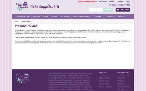 Screenshot of Privacy Page cakesupplies4u.com - Privacy Policy - captured April 10, 2017