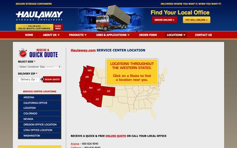 Screenshot of Locations Page haulaway.com - SERVICE CENTER LOCATION - - captured July 21, 2017