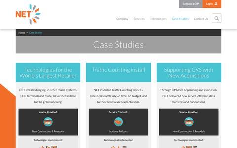 Screenshot of Case Studies Page nettechnology.com - Case Studies » NET - captured Nov. 29, 2016