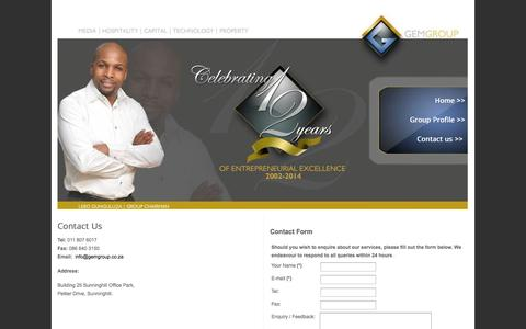 Screenshot of Contact Page gemgroup.co.za - Contact Details - captured Oct. 1, 2014