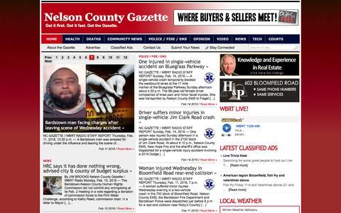 Screenshot of Home Page nelsoncountygazette.com - Nelson County Gazette | Get it first. Get it fast. Get the Gazette. - captured Feb. 15, 2016