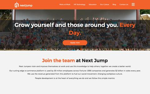 Screenshot of Jobs Page nextjump.com - Careers Overview – Next Jump - captured Oct. 14, 2017