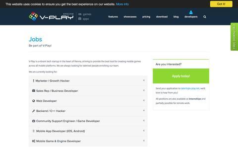 Screenshot of Jobs Page v-play.net - Jobs - V-Play Engine - captured Sept. 6, 2016