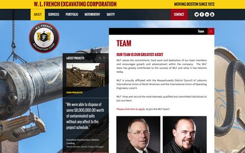 Screenshot of Team Page wlfrench.com - W. L. French Team | W. L. French Excavating Corporation - captured Dec. 13, 2015