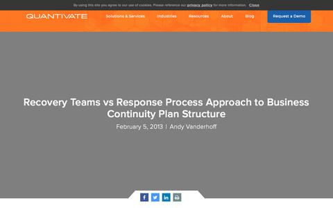 Screenshot of Team Page quantivate.com - Recovery Teams vs Response Process Approach to Business Continuity Plan Structure | Quantivate - captured Dec. 3, 2019