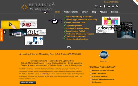 Screenshot of Home Page viralweb.net - Viralweb-Web Design and SEO Services-call 678-995-5516 - - captured Oct. 20, 2018