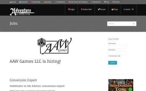 Screenshot of Jobs Page adventureaweek.com - Jobs - Adventureaweek.com - captured Oct. 7, 2017