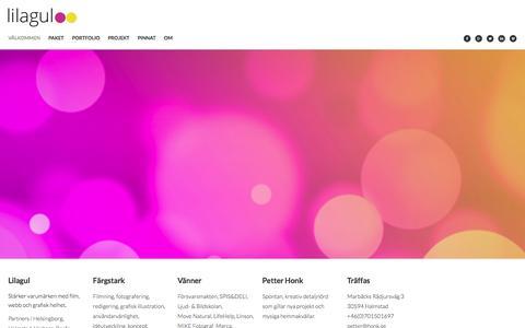 Screenshot of Home Page lilagul.se - Välkommen Lilagul | Färgstark reklambyrå i Halmstad är bra på film, webb och design - captured Dec. 10, 2015