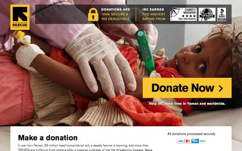 Screenshot of Landing Page rescue.org - Make a donation | International Rescue Committee - captured Oct. 20, 2017
