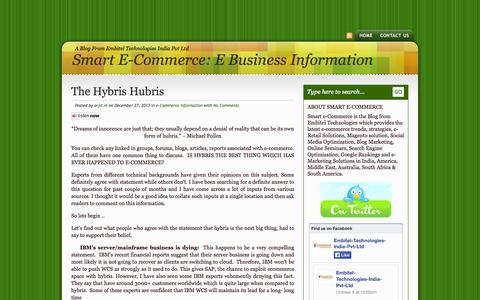 Screenshot of Home Page smarte-commerce.com - Smart e-Commerce: e-Commerce, e-Retailing, e-Marketing & Web Portal Information from EMBITEL - captured Oct. 11, 2014