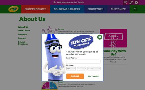Screenshot of About Page crayola.com - About Us | crayola.com - captured Sept. 19, 2018
