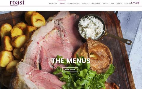 Screenshot of Menu Page roast-restaurant.com - Menu - Roast Restaurant - captured June 22, 2016
