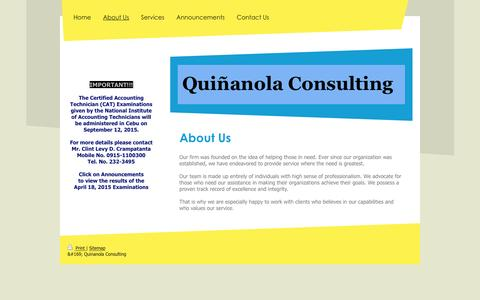 Screenshot of About Page ngqconsulting.com - Quinanola Consulting - About Us - captured Feb. 2, 2016
