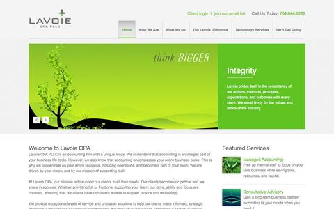 Screenshot of Home Page lavoiepllc.com - Lavoie PLLC - Think Bigger - captured Oct. 2, 2014
