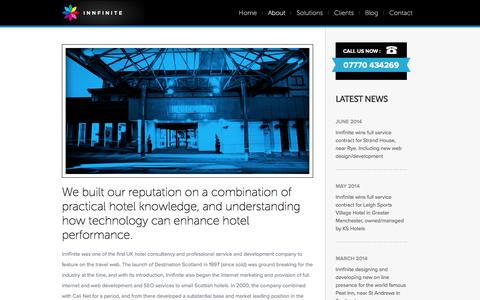Screenshot of About Page innfinite.co.uk - Leading edge UK hotel PC and mobile website design for UK brand and independent hotels - captured Feb. 11, 2016