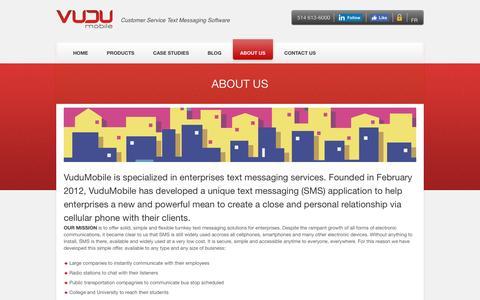Screenshot of About Page vudumobile.ca - SMS Provider for Entreprises | VuduMobile - captured Aug. 14, 2016