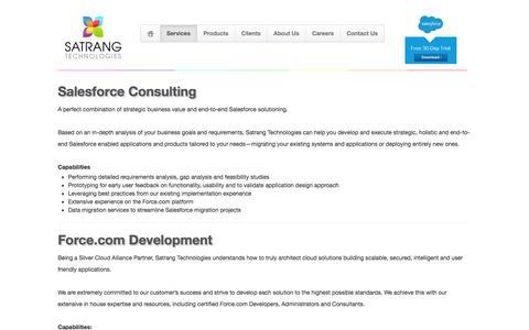 Screenshot of Services Page satrangtech.com - Satrang Technologies - Salesforce Services - captured Feb. 3, 2016