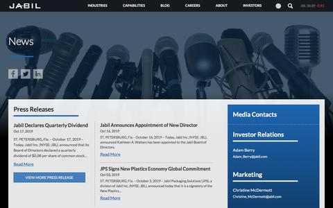 Screenshot of Press Page jabil.com - News | Jabil - captured Feb. 2, 2020