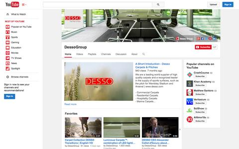 Screenshot of YouTube Page youtube.com - DessoGroup  - YouTube - captured Oct. 29, 2014