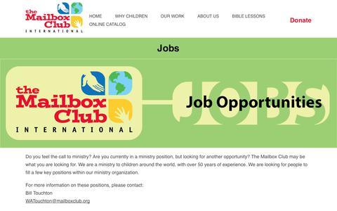 Screenshot of Jobs Page mailboxclub.org - Jobs | The Mailbox Club - captured Nov. 10, 2017