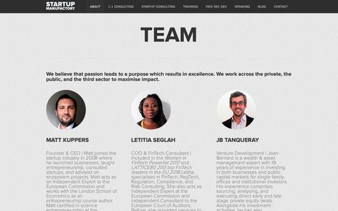 Screenshot of Team Page startupmanufactory.com - Startup Consulting, Entrepreneurship Training, Private Sector Development - captured Nov. 7, 2018