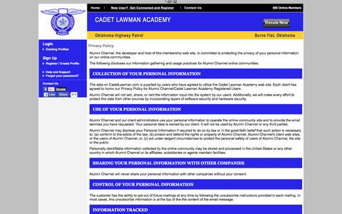 Screenshot of Privacy Page cadetlawman.com - Cadet Lawman Academy - Privacy Policy - captured March 4, 2016