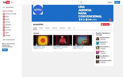 Screenshot of YouTube Page youtube.com - grupobittia  - YouTube - captured Oct. 23, 2014
