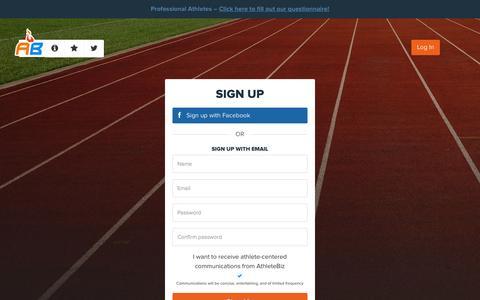 Screenshot of Signup Page athletebiz.us - AthleteBiz - captured Sept. 30, 2014