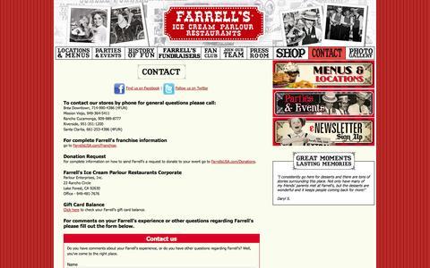 Screenshot of Contact Page farrellsusa.com - Farrell's - Ice Cream Parlour Restaurants - Contact - captured Sept. 19, 2014