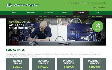 Screenshot of Services Page cyclery.com.au - Service – Clarence St Cyclery - captured Nov. 7, 2016