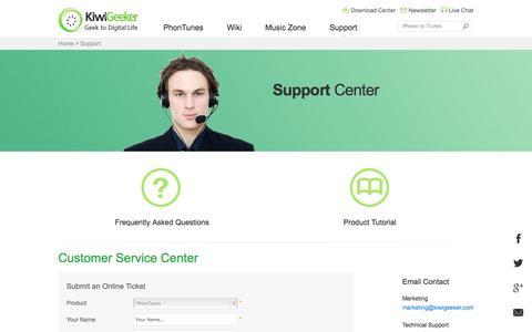 Screenshot of Support Page kiwigeeker.com - Support Center - Online help for KiwiGeeker software-KiwiGeeker.com - captured Sept. 19, 2014