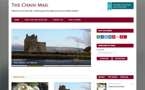Screenshot of Blog historic-scotland.gov.uk - The Chain Mail — Welcome to The Chain Mail – a visitor's guide to the sights and sounds of Historic Scotland - captured Sept. 19, 2014