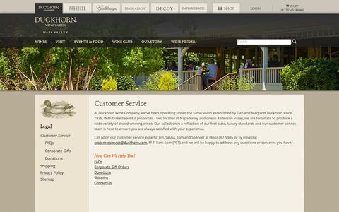 Screenshot of Support Page duckhorn.com - Duckhorn Vineyards - Customer Service - captured Sept. 25, 2014