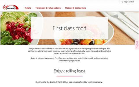 Screenshot of Menu Page virgintrains.co.uk - First Class food & drink - Experience  - Virgin Trains - captured Dec. 11, 2019