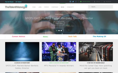 Screenshot of Blog thetalentmanager.com - Latest Media and TV Industry News | The Talent Manager - captured Oct. 19, 2018