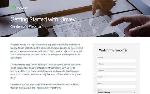 Screenshot of Landing Page progress.com - Getting Started with Kinvey - captured July 17, 2019
