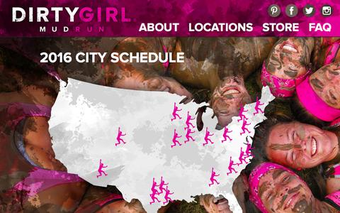 Screenshot of Locations Page godirtygirl.com - Locations | Dirty Girl Mud Run - captured Feb. 9, 2016