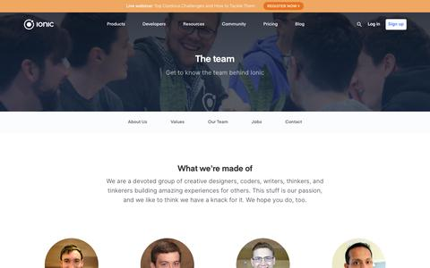 Screenshot of Team Page ionicframework.com - Get to Know the Team Behind Ionic - captured March 21, 2019