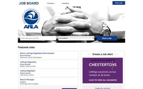 Screenshot of Jobs Page arla.co.uk - Career Centre Jobs - ARLA Job Board - captured Jan. 15, 2016